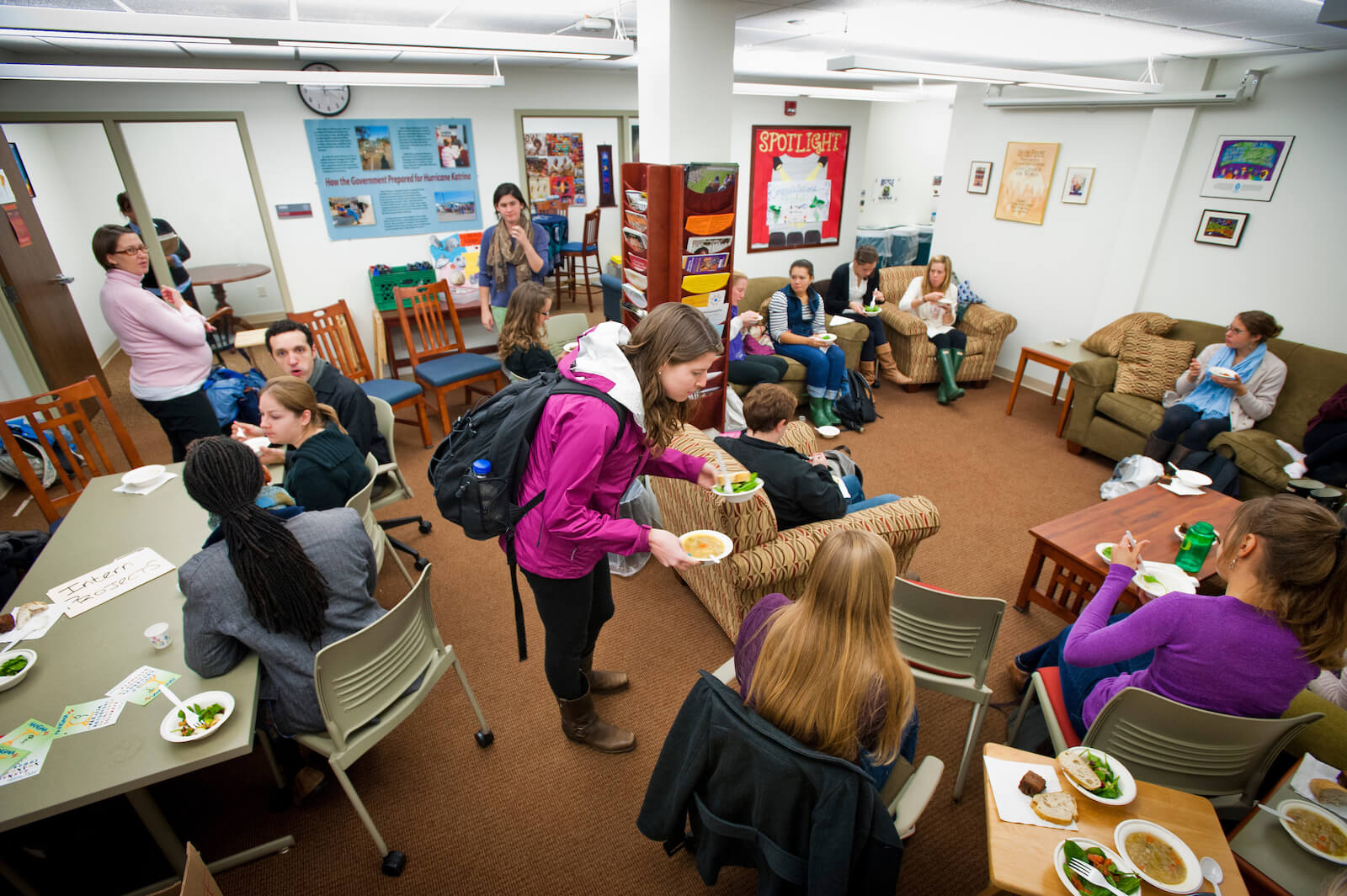 Students gathering in the COVE lounge.