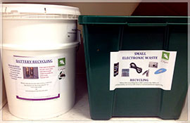eWaste and battery recycling containers
