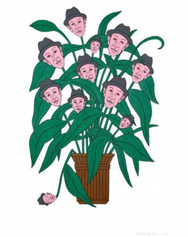 Illustration of Marko Mäetamm's face as the flowers on a plant