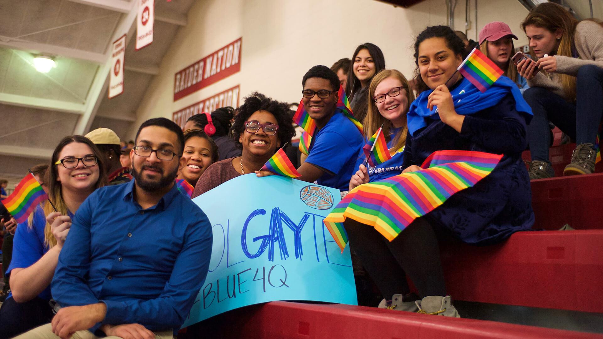 Colgate takes on Boston University in men's basketball during the LGBTQ Awareness Game