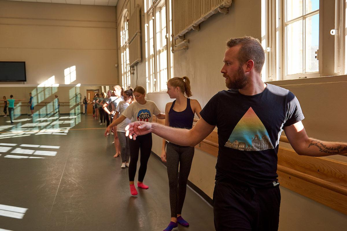Students take a dance class in the Huntington Gym loft space