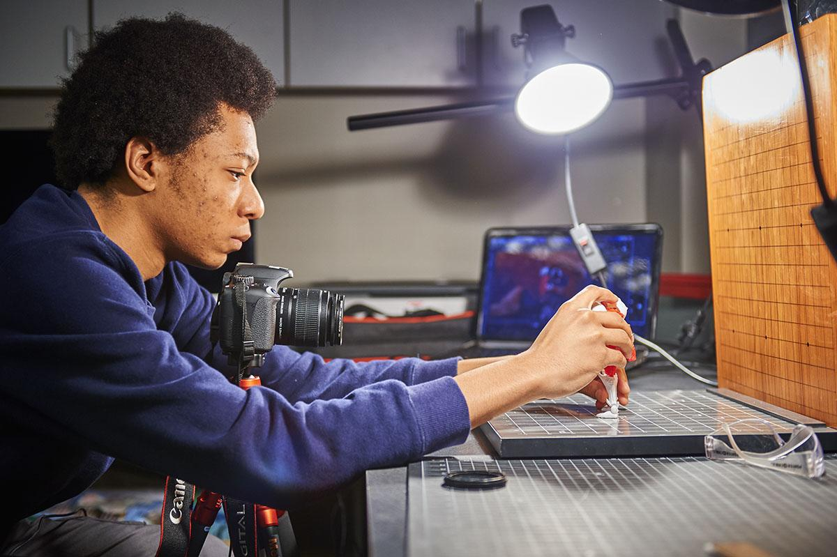 A Colgate student uses digital studio facilities to complete a 3D modeling project.