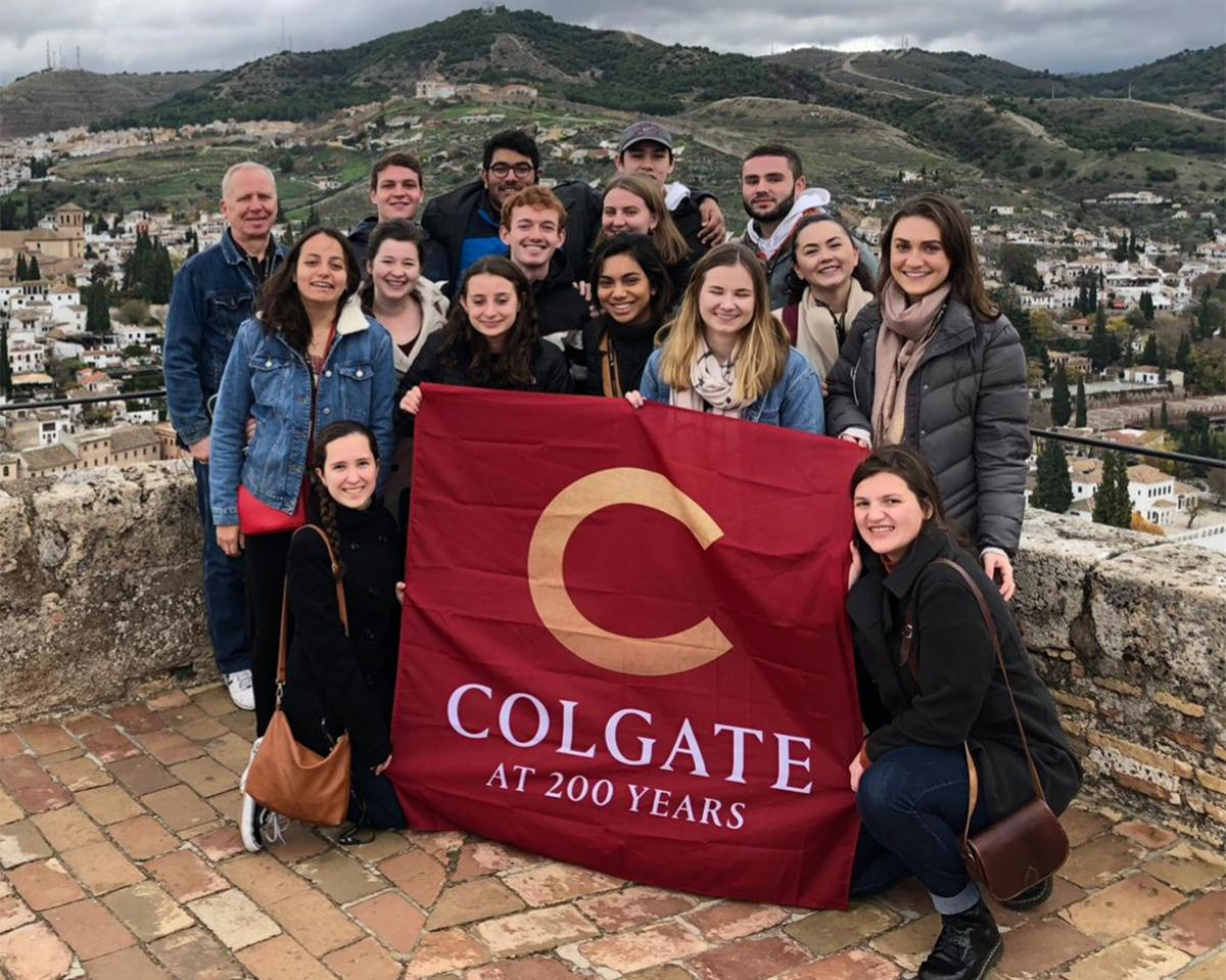 The Madrid Study Group marked Colgate´s Bicentennial year by unfurling a banner atop the Torre de la Vela at the Alhambra during a weekend excursion to Granada, Spain.