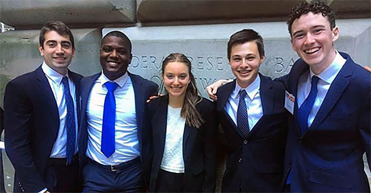 Students from Colgate's 2017 Fed Challenge team