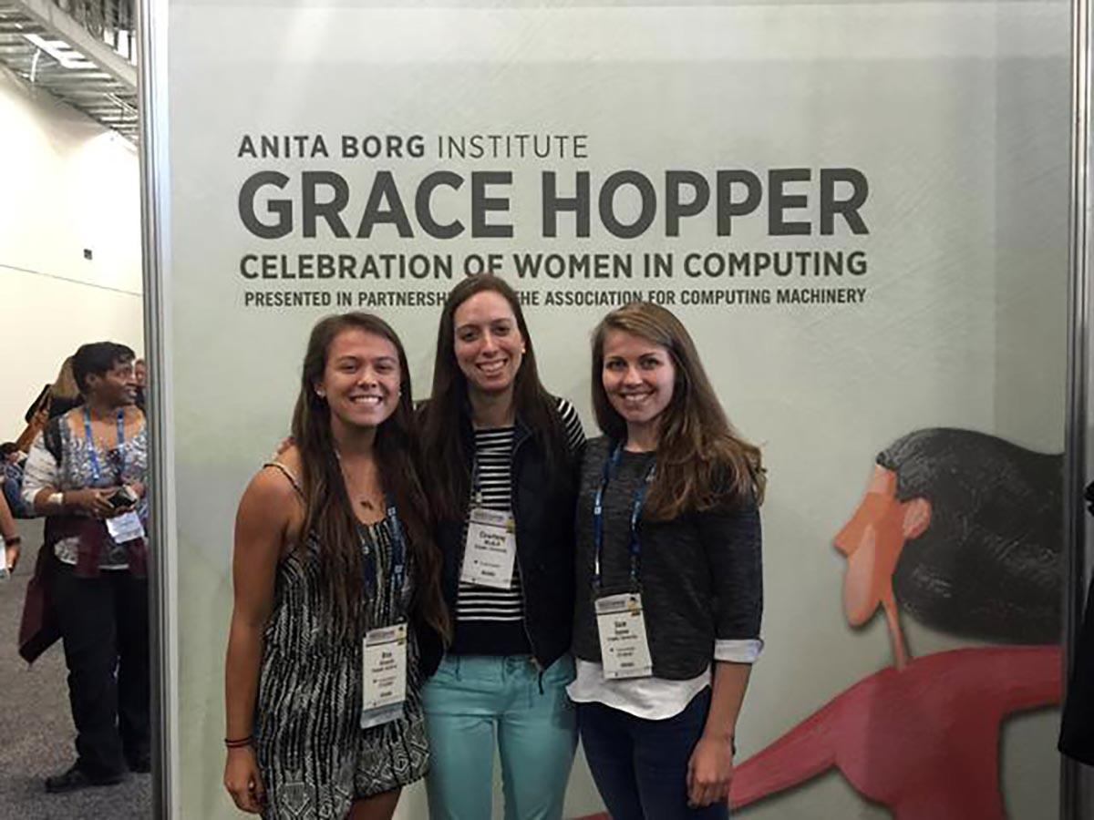 Three female Colgate students in attendance at the Grace Hopper Celebration of Women in Computing