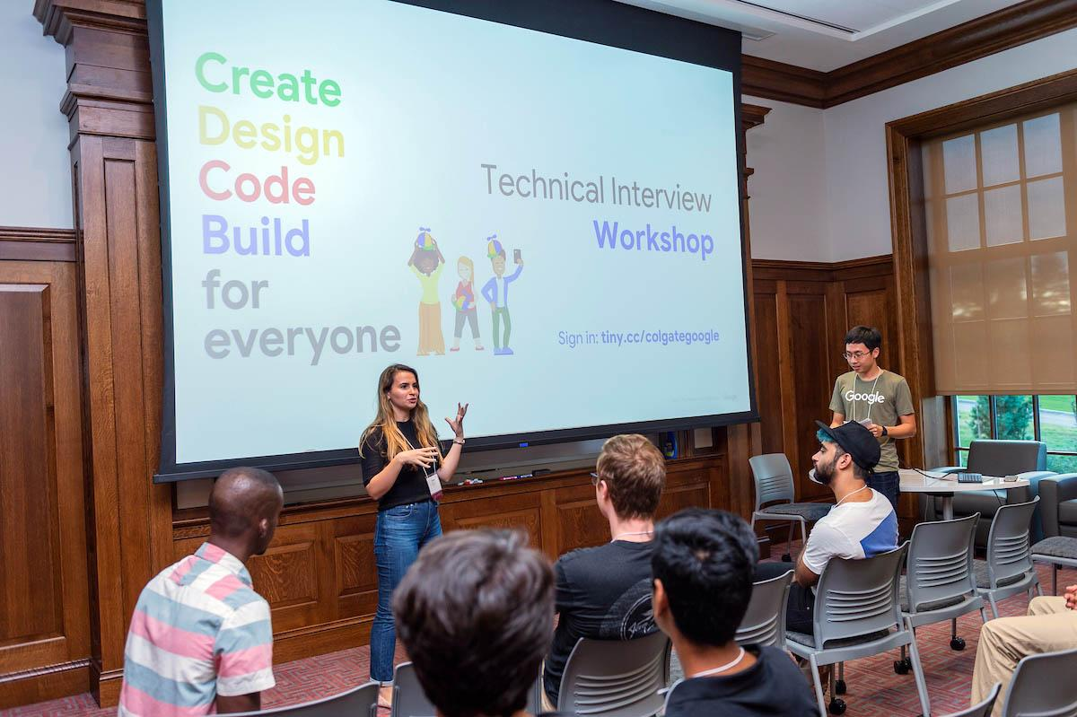 Colgate students participate in Prep for Tech Workshops at Benton Hall in fall 2018.