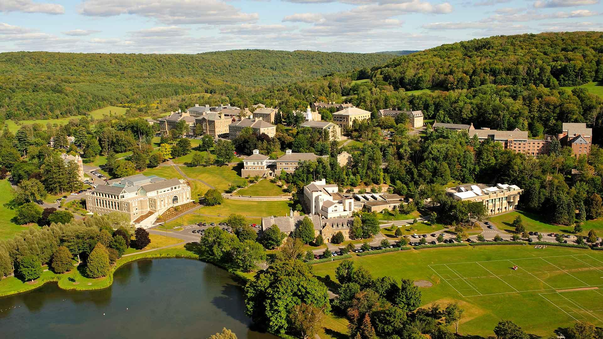 Aerial view of the Colgate campus