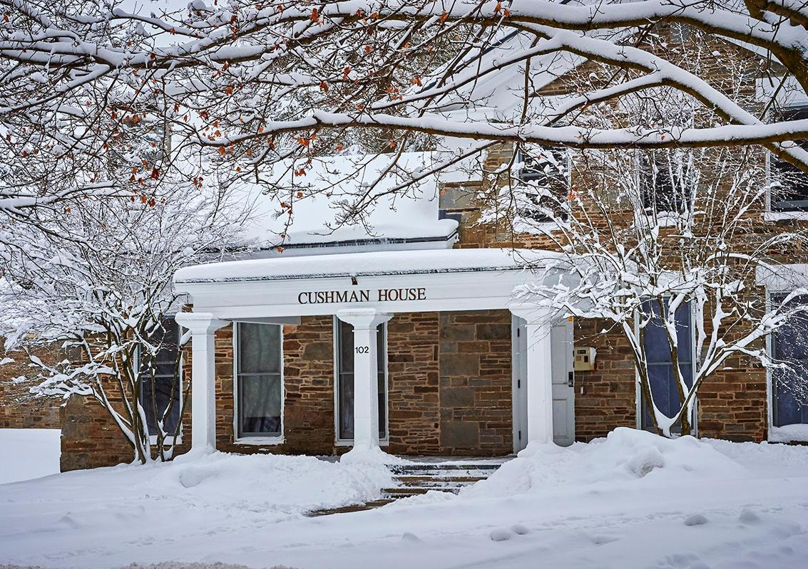 Cushman House in the snow
