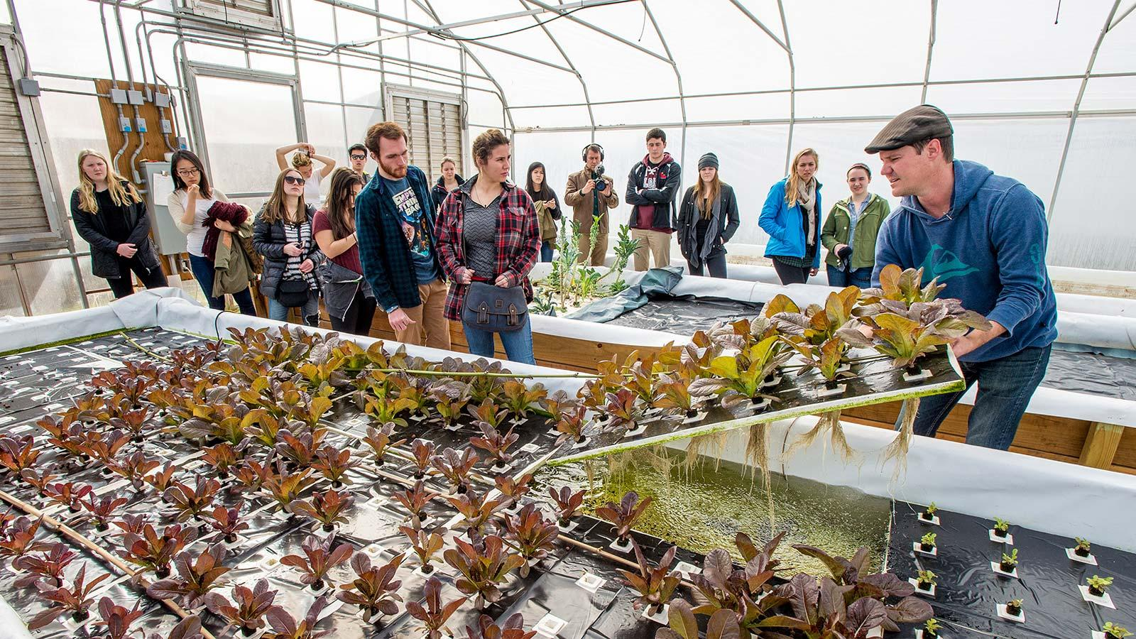 Owner of the Aqua Dulce urban organic farm and aquaculture facility, Jack Waite, shows students how the facility operates.