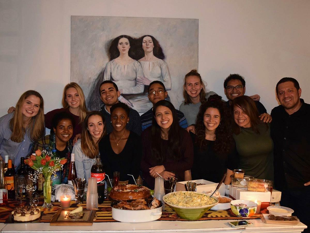 Students on the Madrid Study Group enjoy a Thanksgiving meal together.