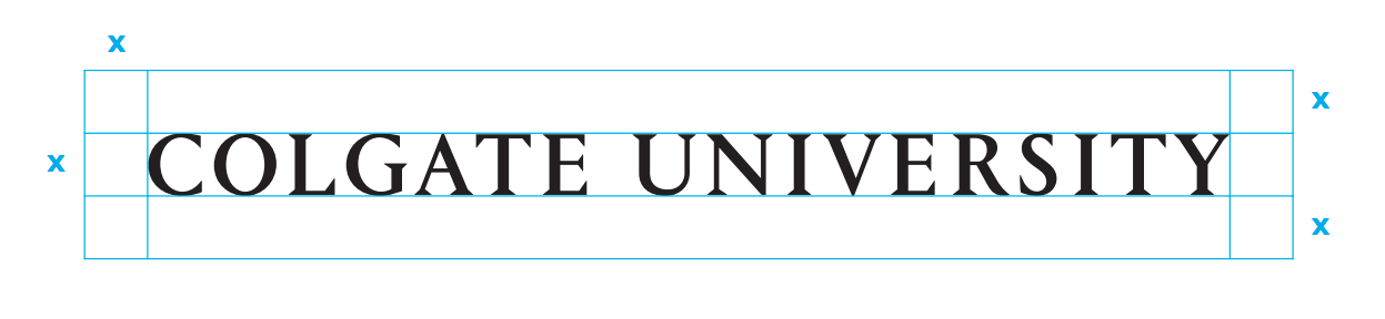 Colgate University one-line wordmark and clear space