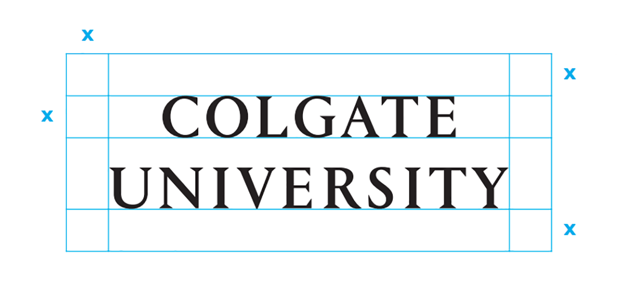 Colgate University two-line and margin indication