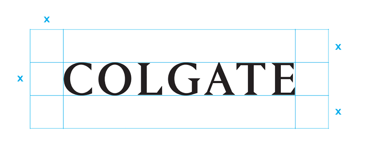 Colgate alternative wordmark and margin indications