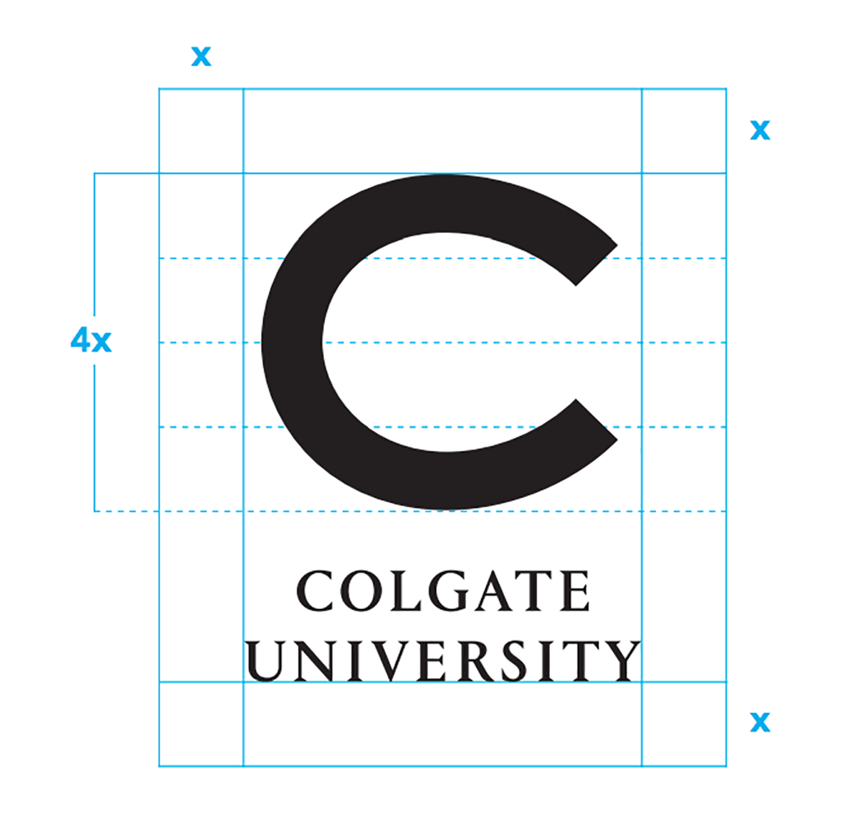 Colgate University C lockup with margin indicators