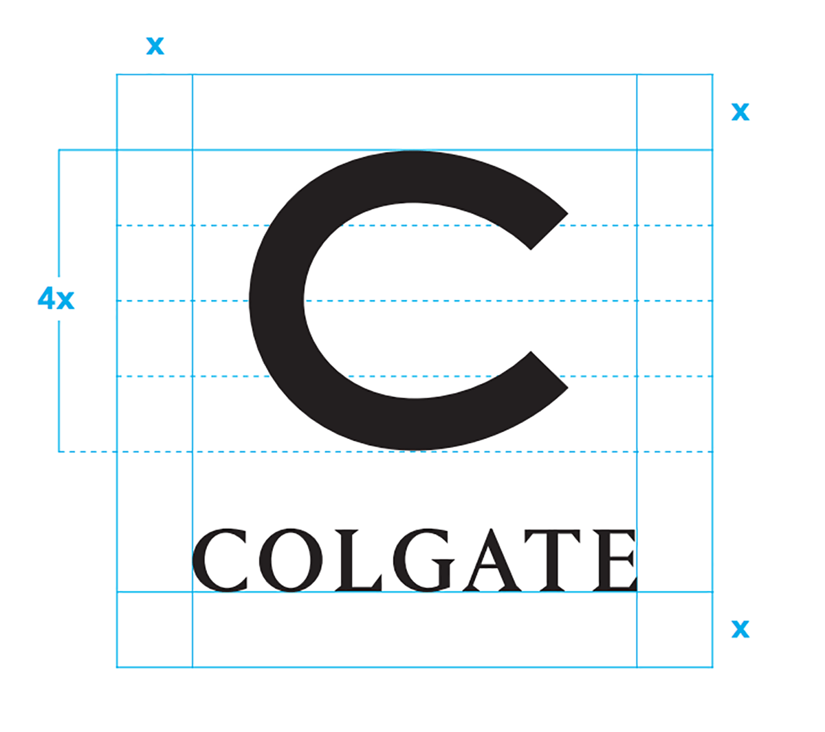 Colgate C logo and clear space