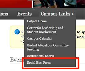 Screenshot highlighting the location of the Social Host Form in Get Involved