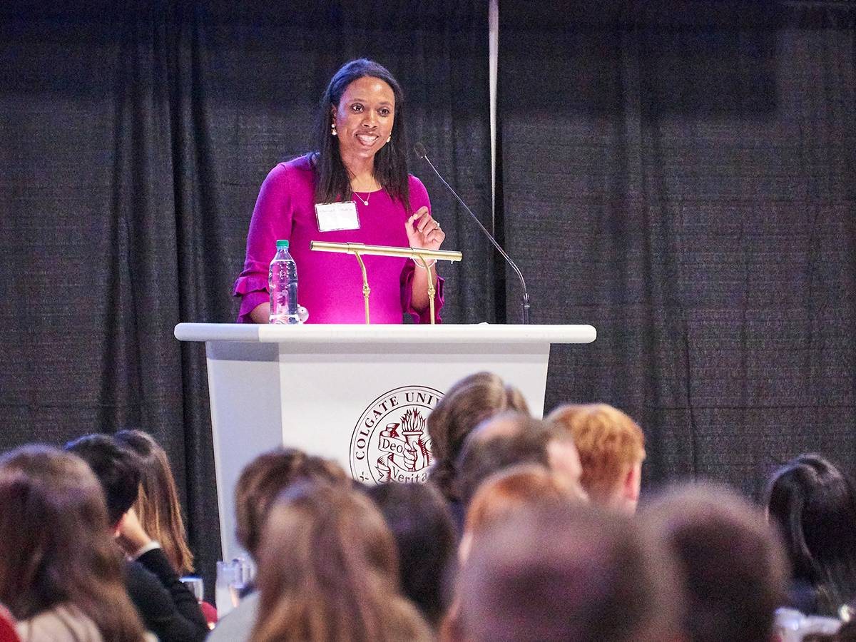 Clarissa Shah '10 speaking at SophoMORE Connections in 2019