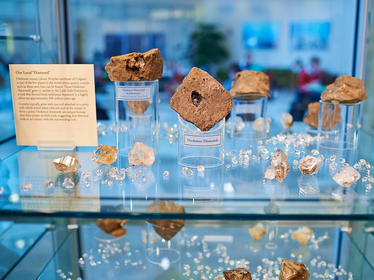 Rock samples on display in Colgate's Linsley Geology Museum