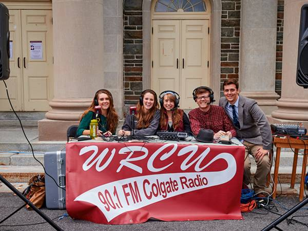 The Colgate community enjoys a barbecue on the quad during homecoming weekend. Here, students from WRCU provide music for the gathering.