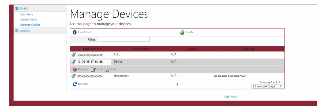 Screenshot showing the Manage Devices interface