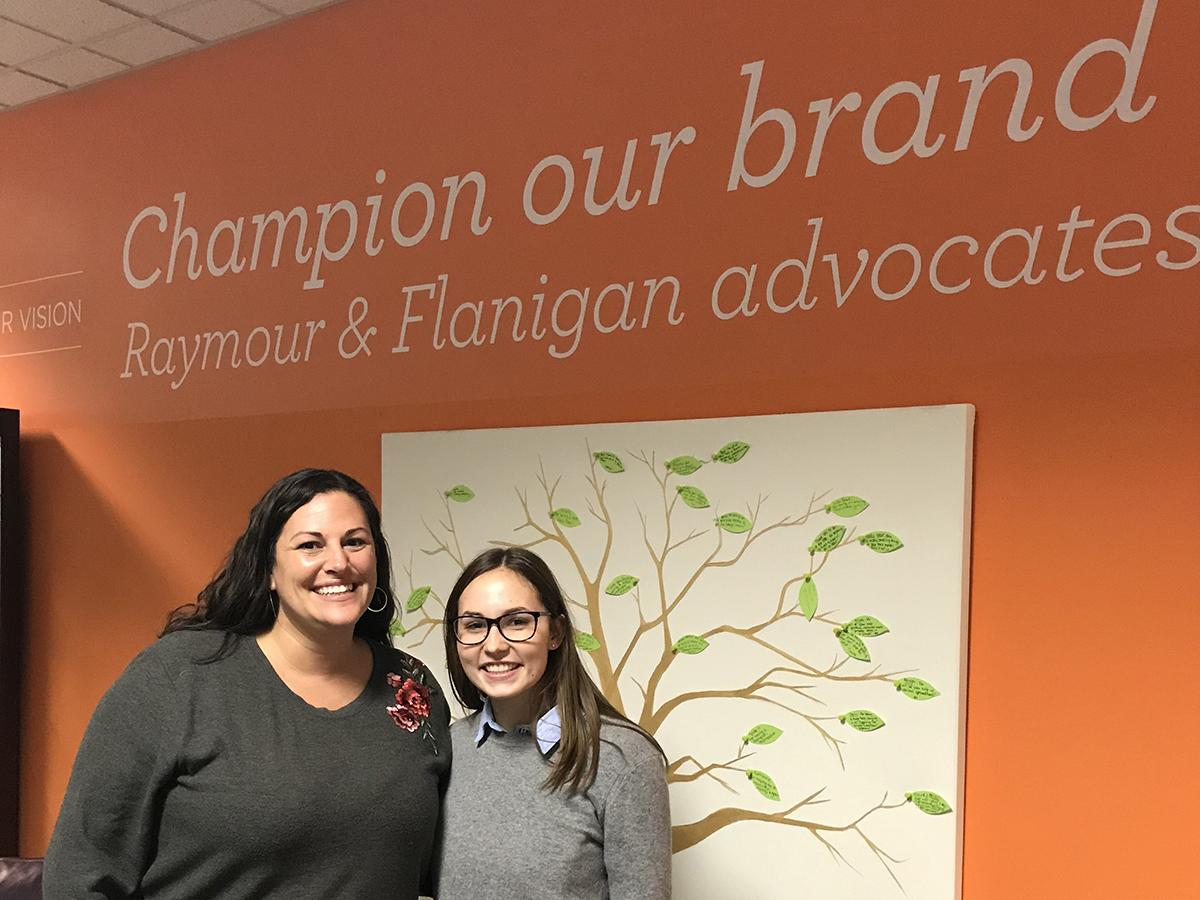 Nina Armideo '22 with Erika Clark '00 at Raymour&Flanigan