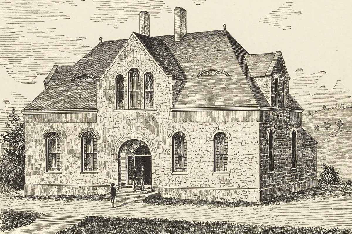 The Chemistry Laboratory, now Hascall Hall, in 1886.