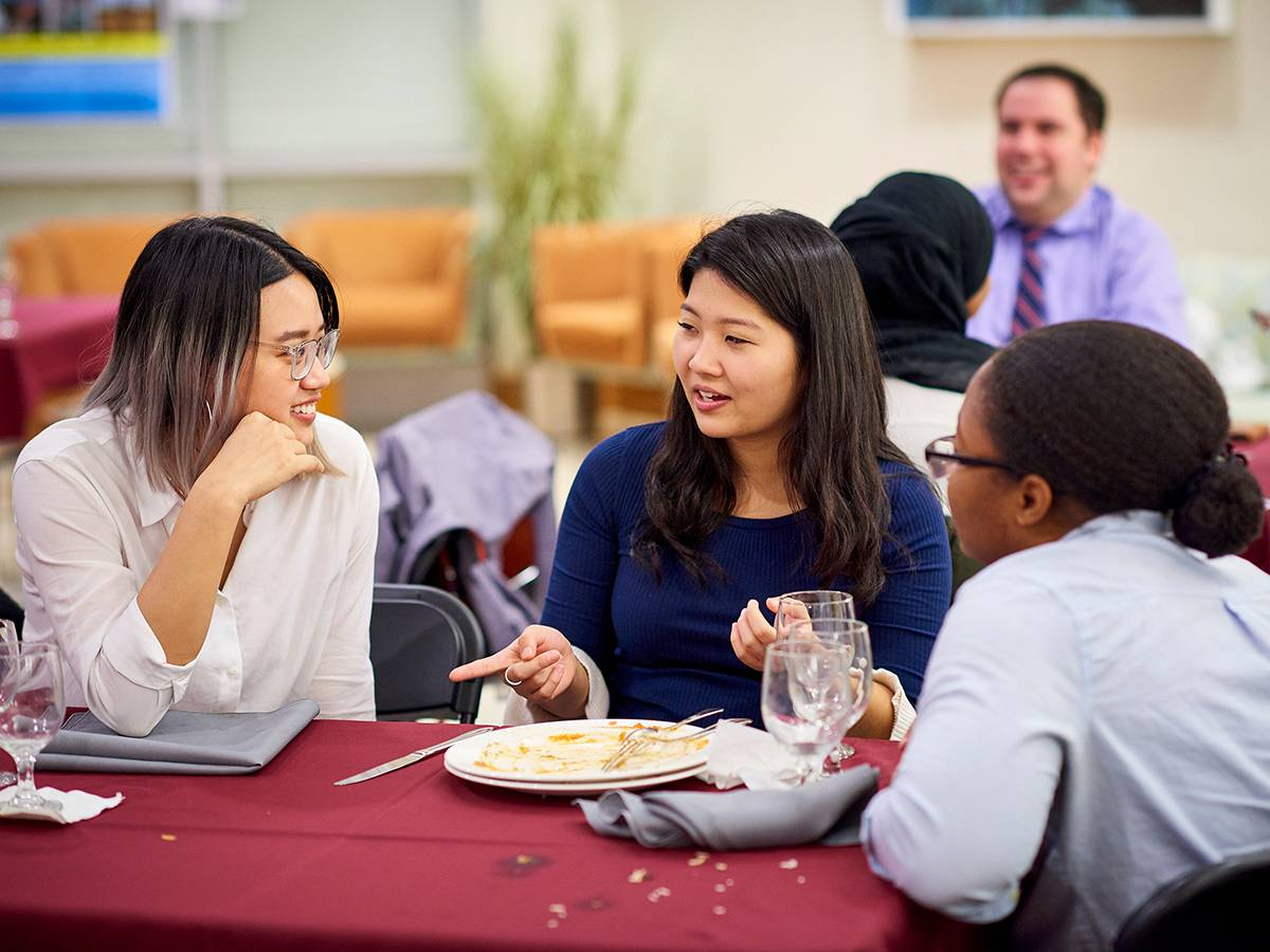 students have a discussion at a Thrive Lunch