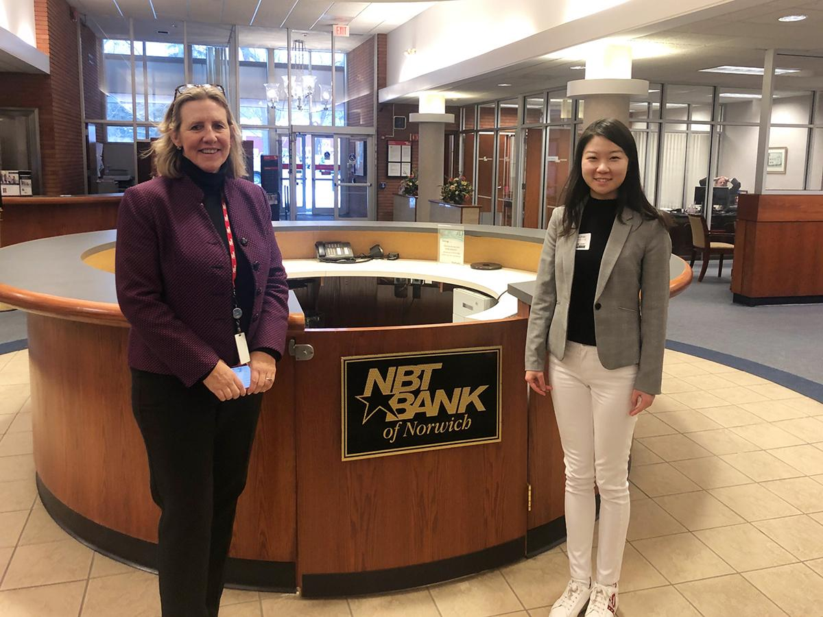 Yiyan Zhao '22 shadowing Amy Wiles '81 at NBT bank