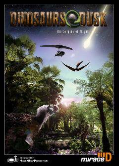 movie poster of an illustration of dinosaurs with approaching asteroid