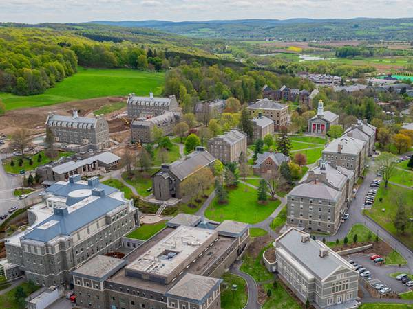 Aerial view of the Colgate University campus.