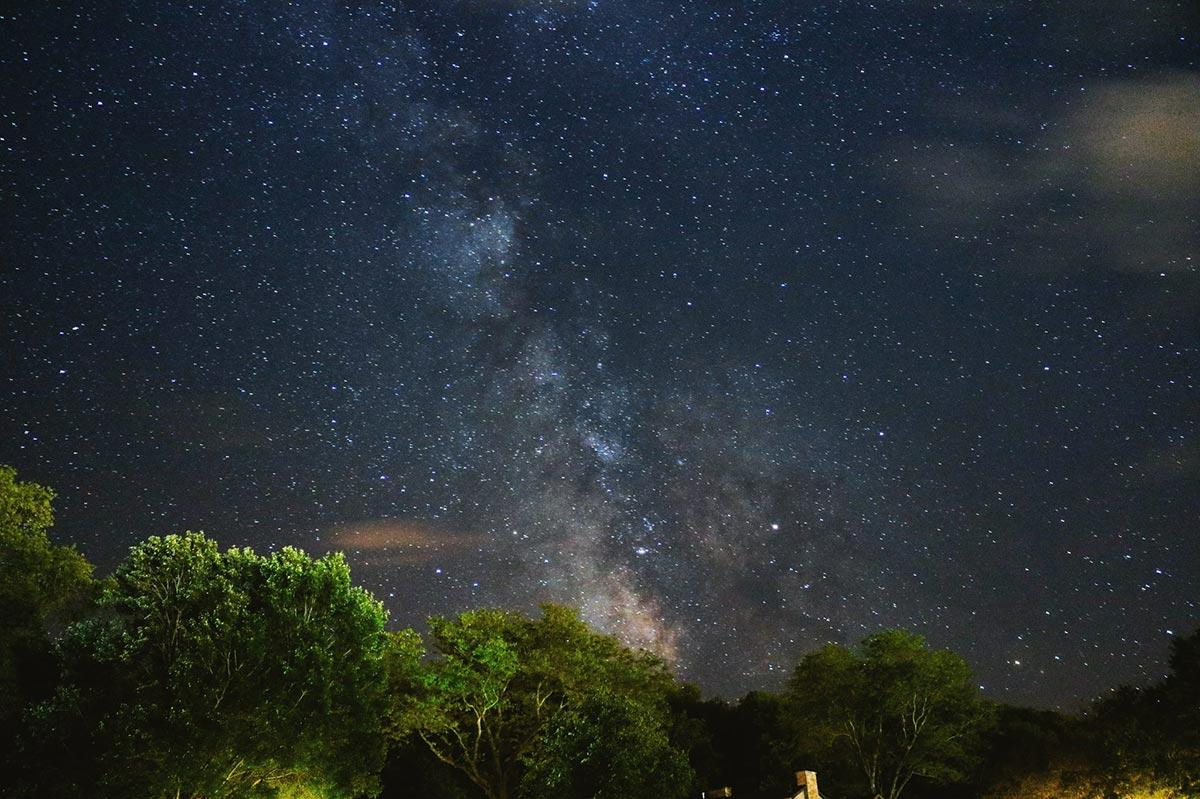 Galactic core of the Milky Way in the night sky