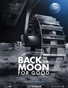 movie poster of a moon landscape with a mechanical wheel