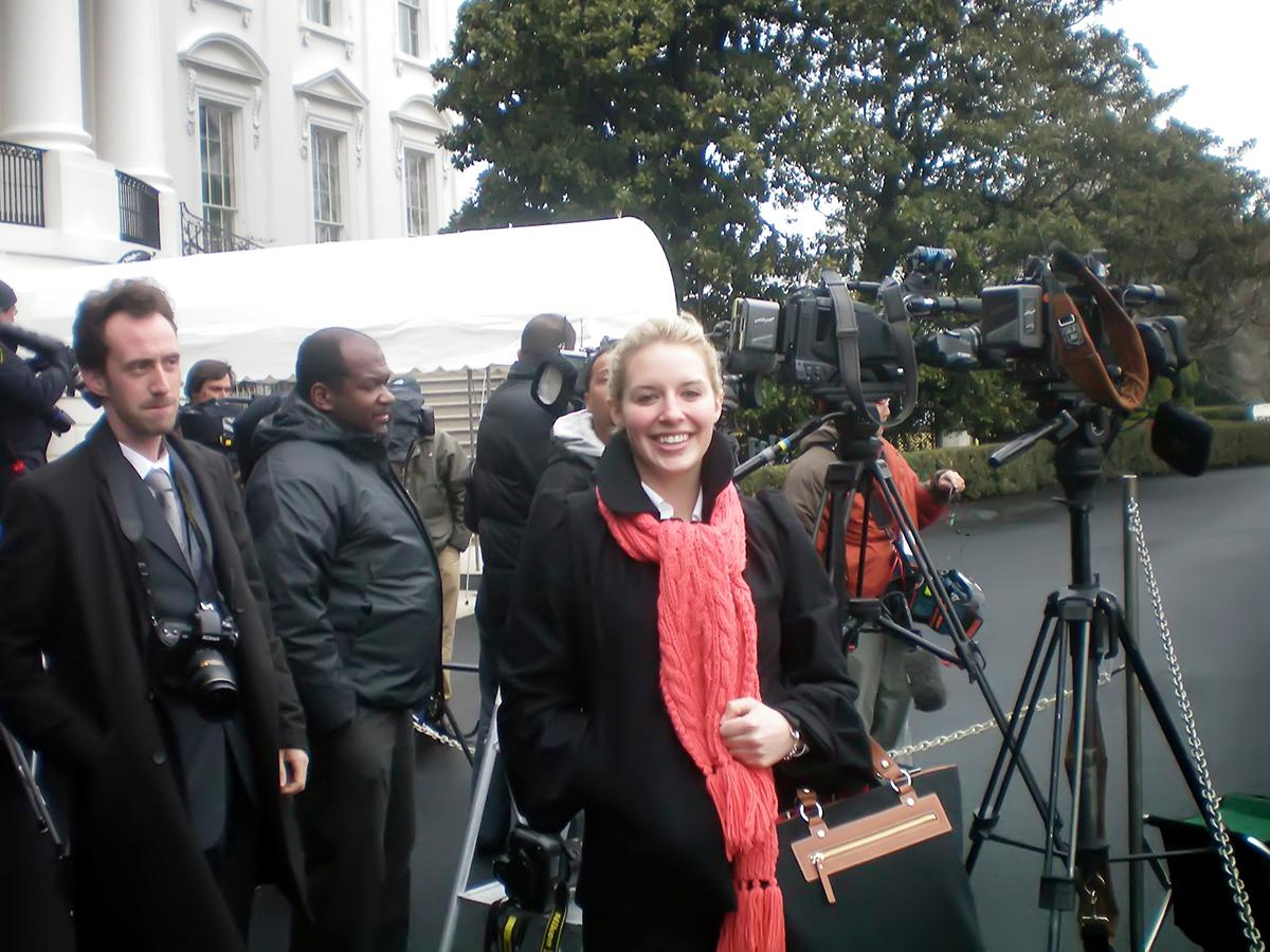 Emily Bradley '10 working with CBS News Washington cameras