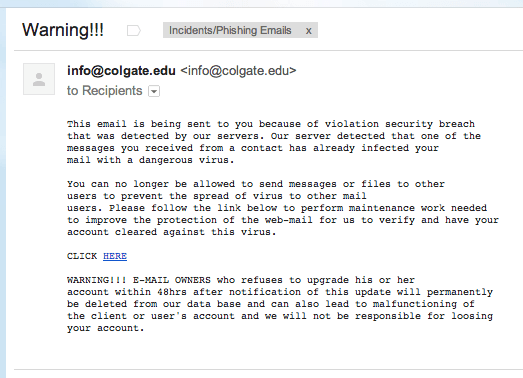 Screenshot of an example of a phishing email