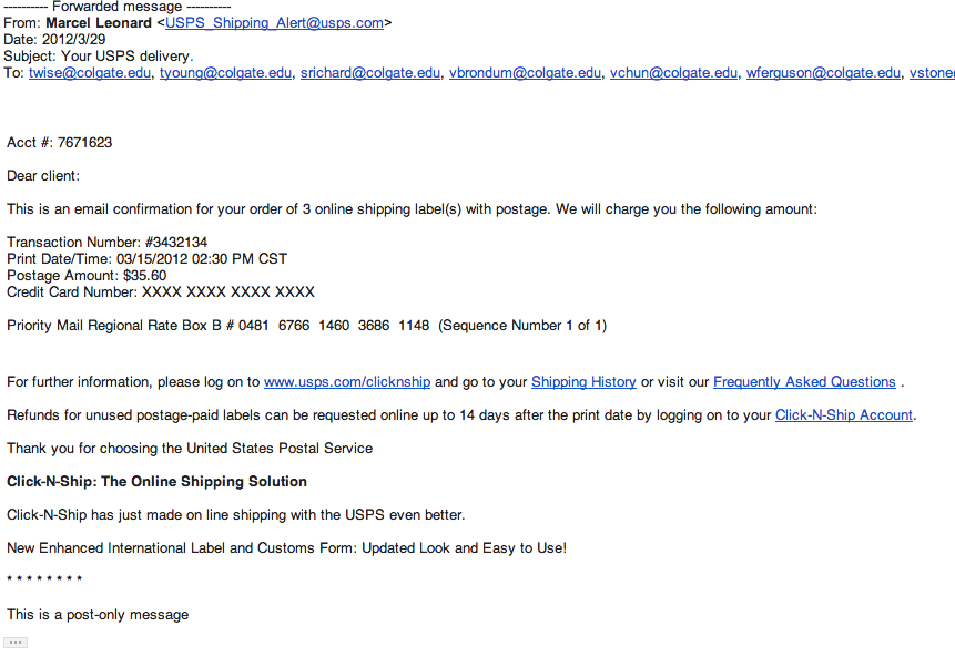 Screenshot of a shipping fraud phishing email