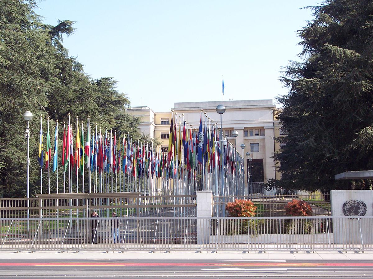 Flags outside the United Nations in Geneva, Switzerland
