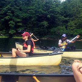 Colgate students canoeing
