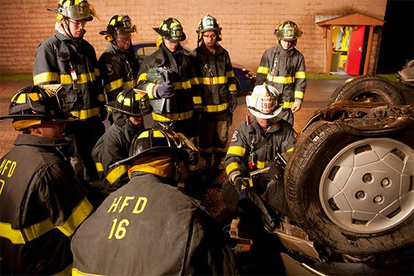 Colgate students participate in Fire Department training.