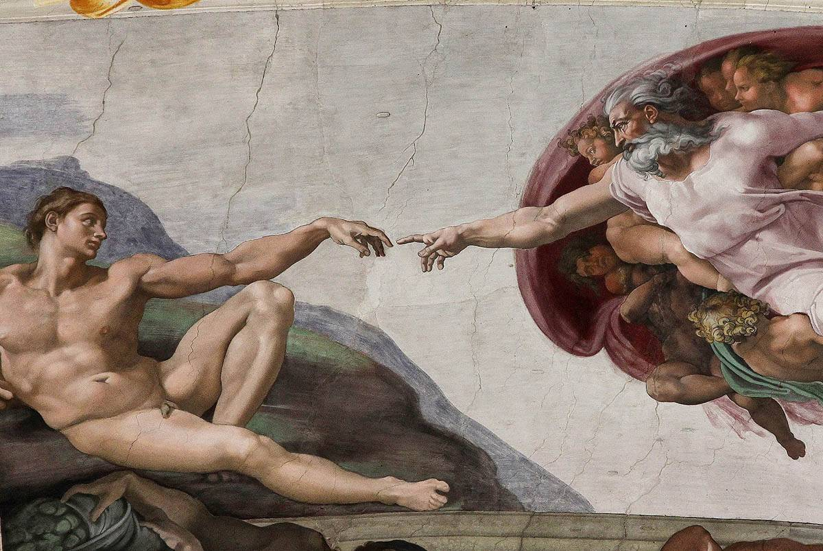 "Image of the painting ""The Creation of Adam"" by Michelangelo"
