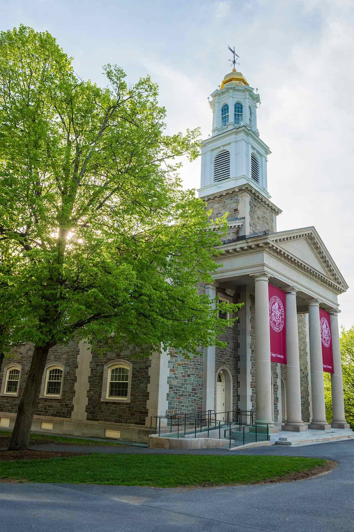 Alumni Memorial Chapel with Bicentennial banners in spring.