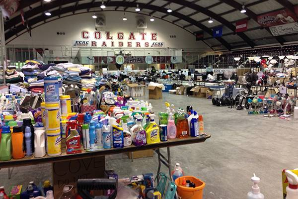 Starr Rink filled with donated supplies during Salvage.