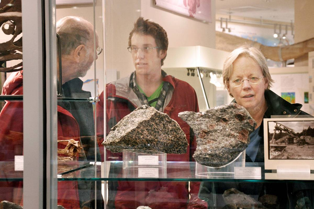 Visitors enjoy an exhibit at the Robert M. Linsley Geology Museum.