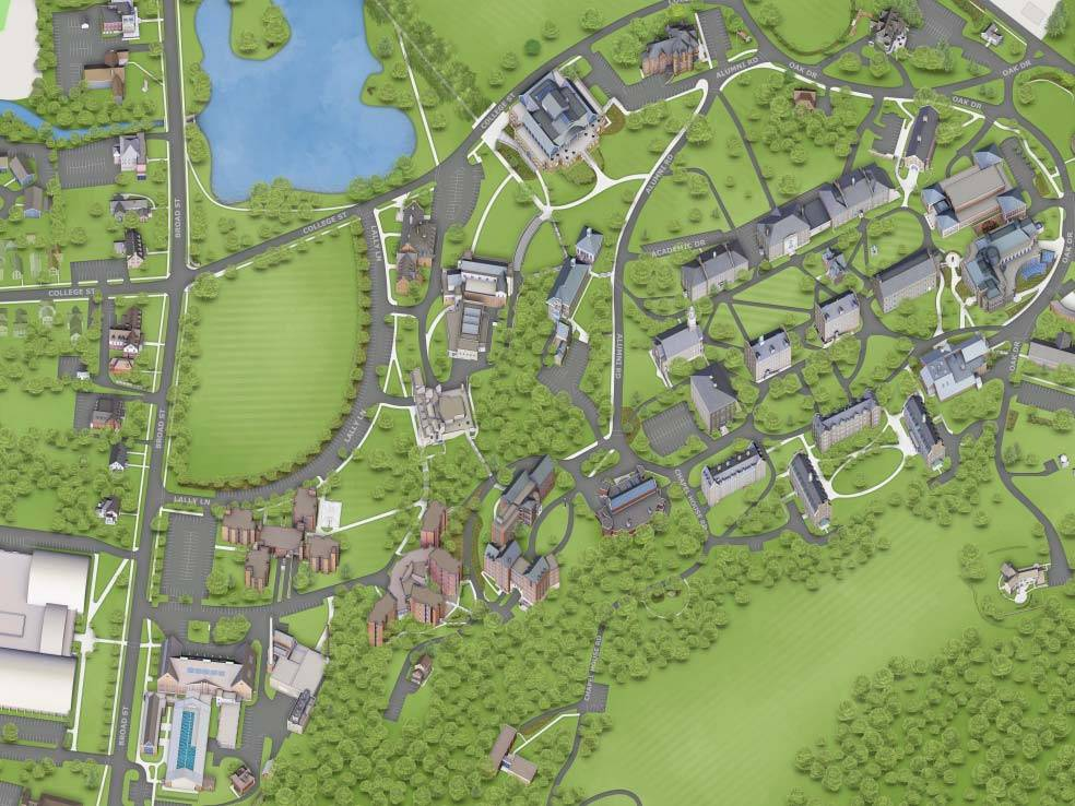 Illustrated version of the Colgate Campus Map