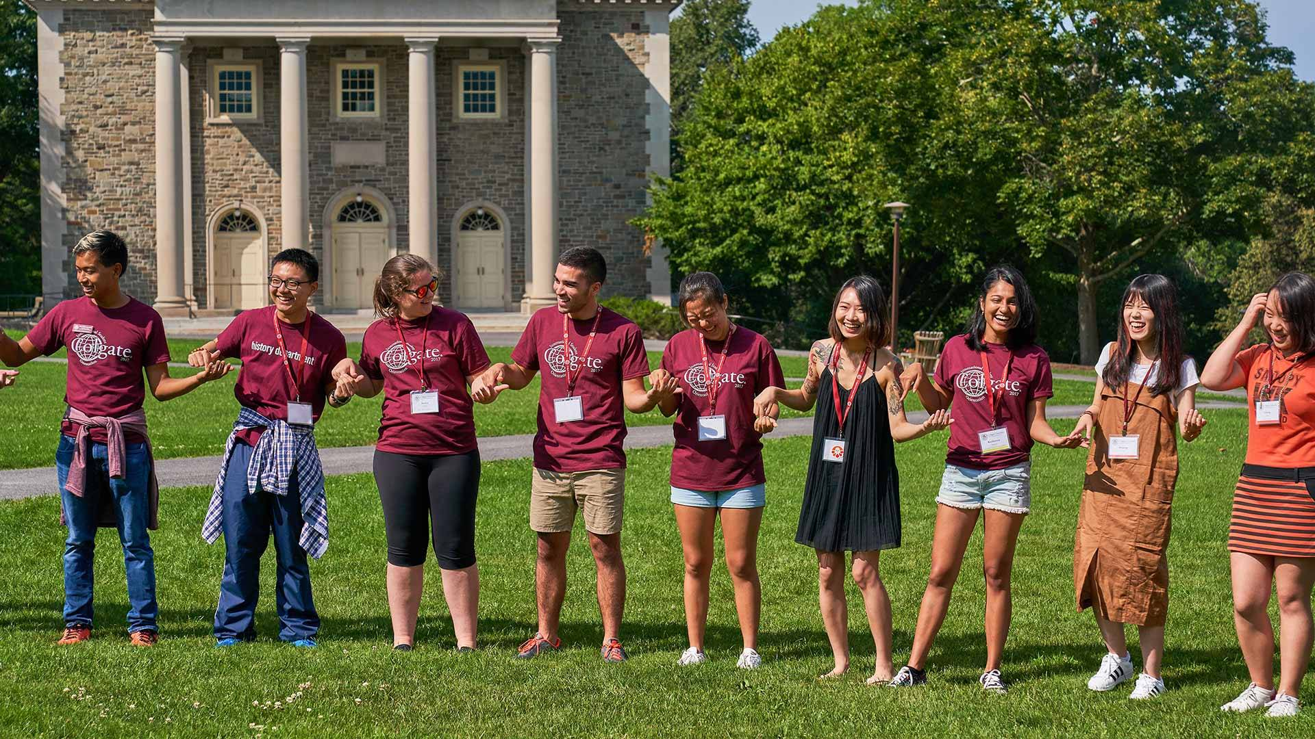International students participate in a group activity to meet one another on Colgate's Academic Quad