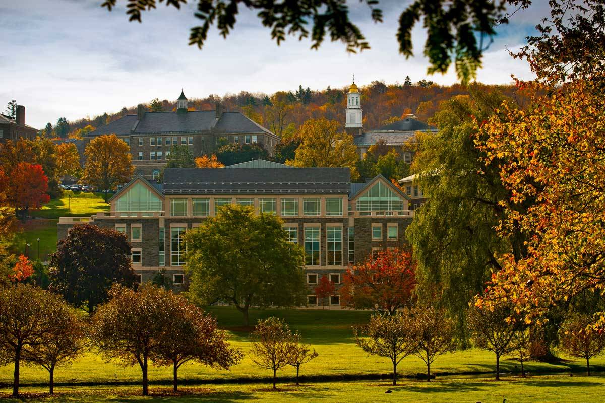 Autumn campus scenic from afar.