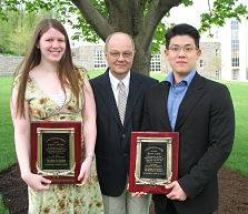 Anne C. Ameno (left) and Hyun Yoon pictured with Professor Robert Kraynak