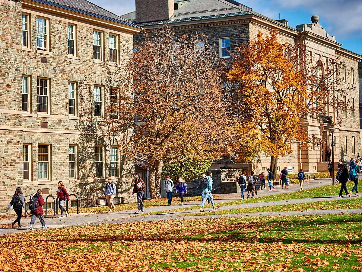 Students walk to class on the sunny Academic Quad amidst autumn foliage