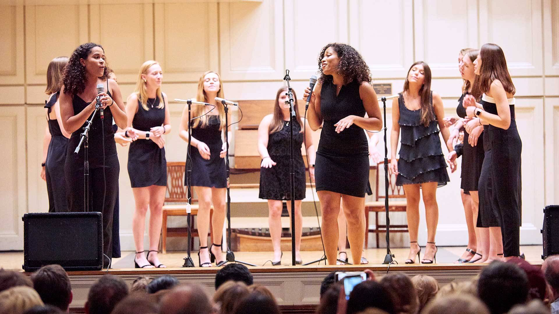 The Swinging Gates perform an a capella concert in Memorial Chapel