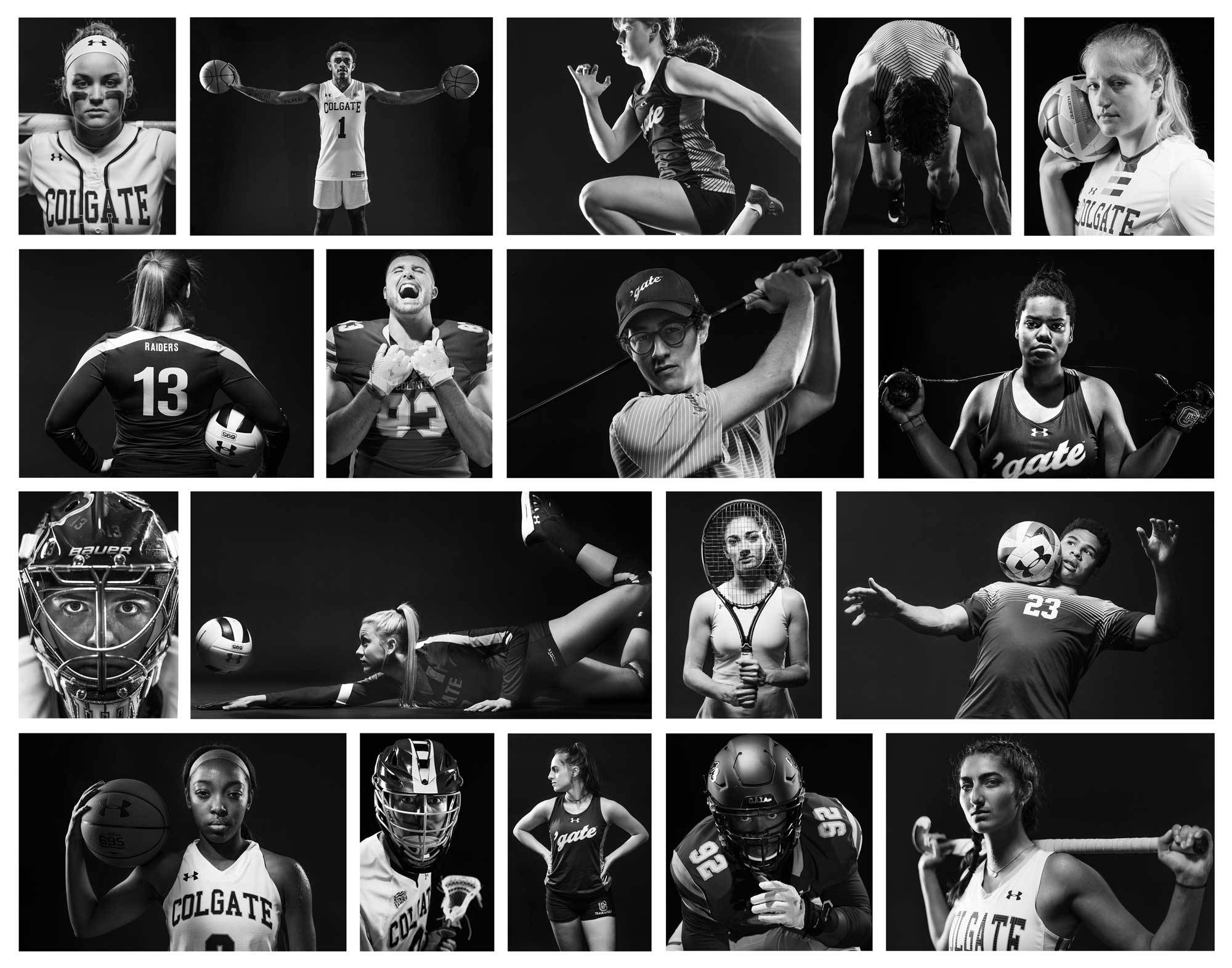 collage of student-athlete portraits