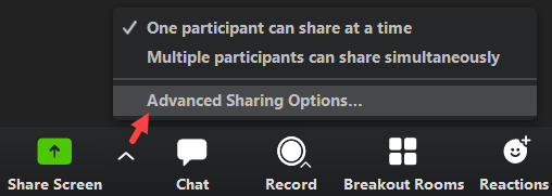 Screenshot showing how to get to Zoom advanced sharing options